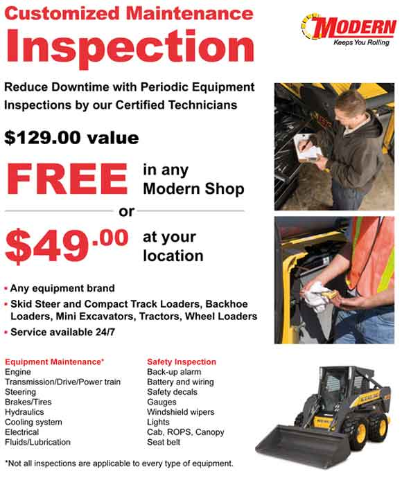 Customized Maintenance Inspection - $129 Value FREE in any Modern Shop or $49 at your location